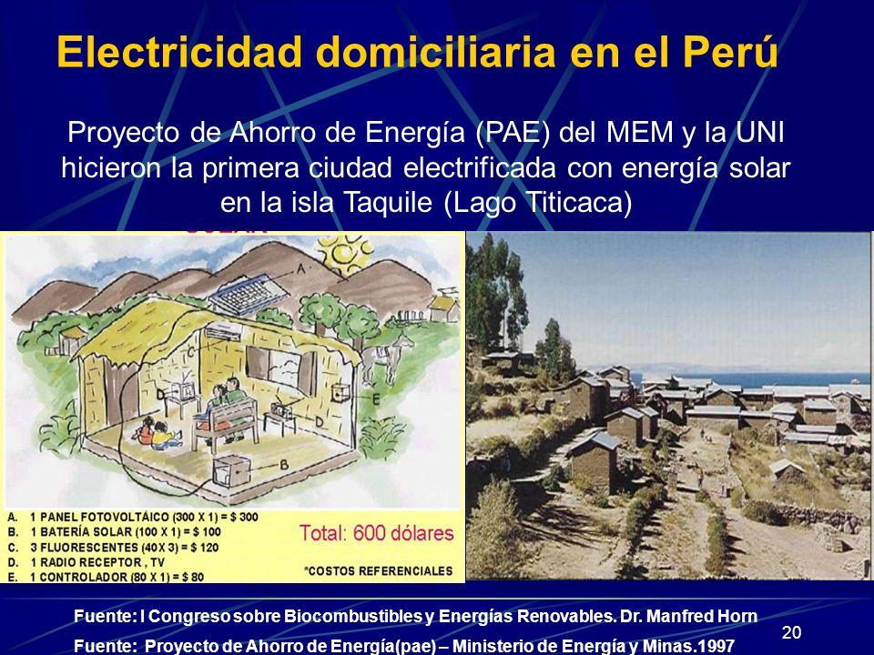 20 Fuente: Proyecto de Ahorro de Energía(pae) – Ministerio de Energía y Minas.1997 Electricidad domiciliaria en el Perú Proyecto de Ahorro de Energía