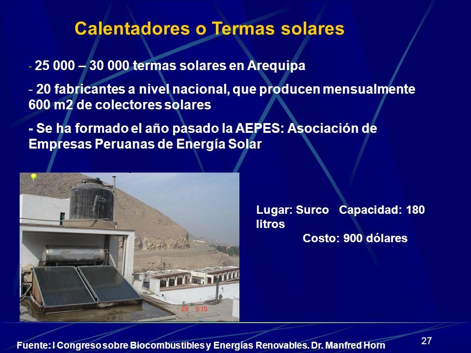 27 - 25 000 – 30 000 termas solares en Arequipa - 20 fabricantes a nivel nacional, que producen mensualmente 600 m2 de colectores solares - Se ha form