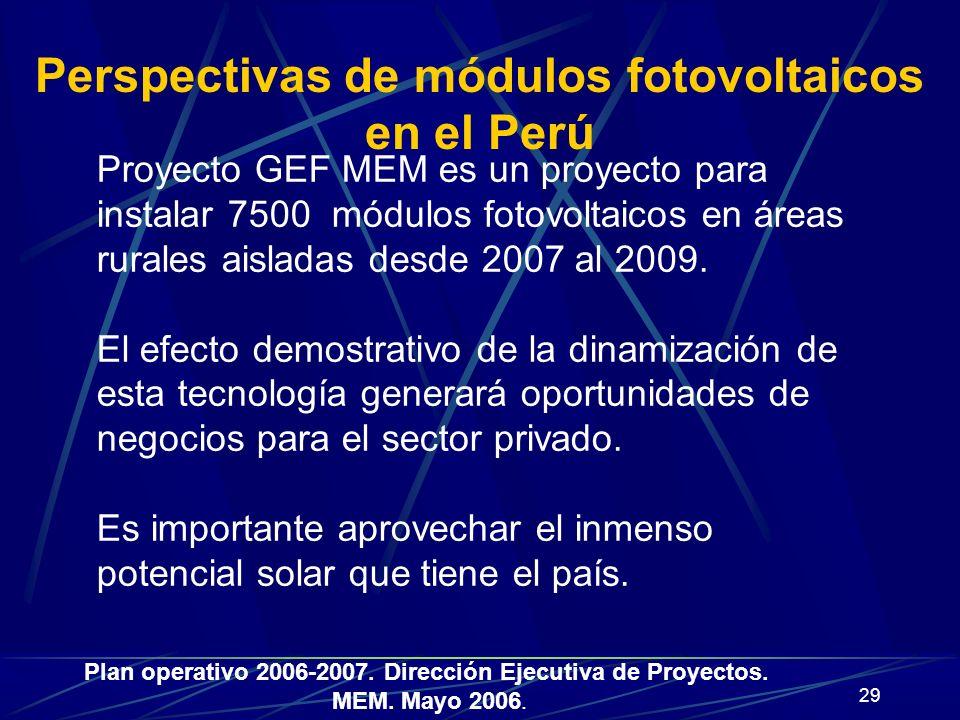29 Perspectivas de módulos fotovoltaicos en el Perú Proyecto GEF MEM es un proyecto para instalar 7500 módulos fotovoltaicos en áreas rurales aisladas