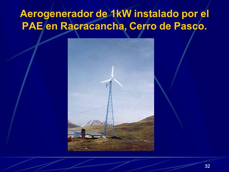 32 Aerogenerador de 1kW instalado por el PAE en Racracancha, Cerro de Pasco.