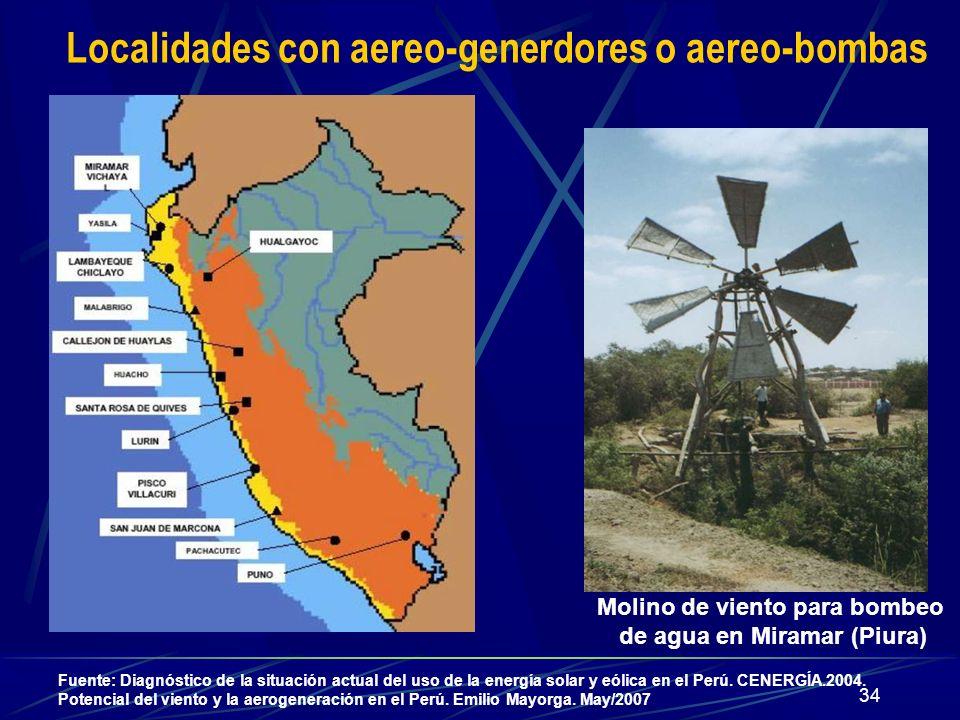 34 Fuente: Diagnóstico de la situación actual del uso de la energía solar y eólica en el Perú. CENERGÍA.2004. Potencial del viento y la aerogeneración