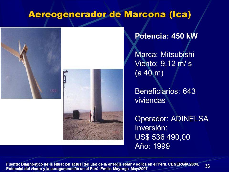 36 Aereogenerador de Marcona (Ica) Potencia: 450 kW Marca: Mitsubishi Viento: 9,12 m/ s (a 40 m) Beneficiarios: 643 viviendas Operador: ADINELSA Inver