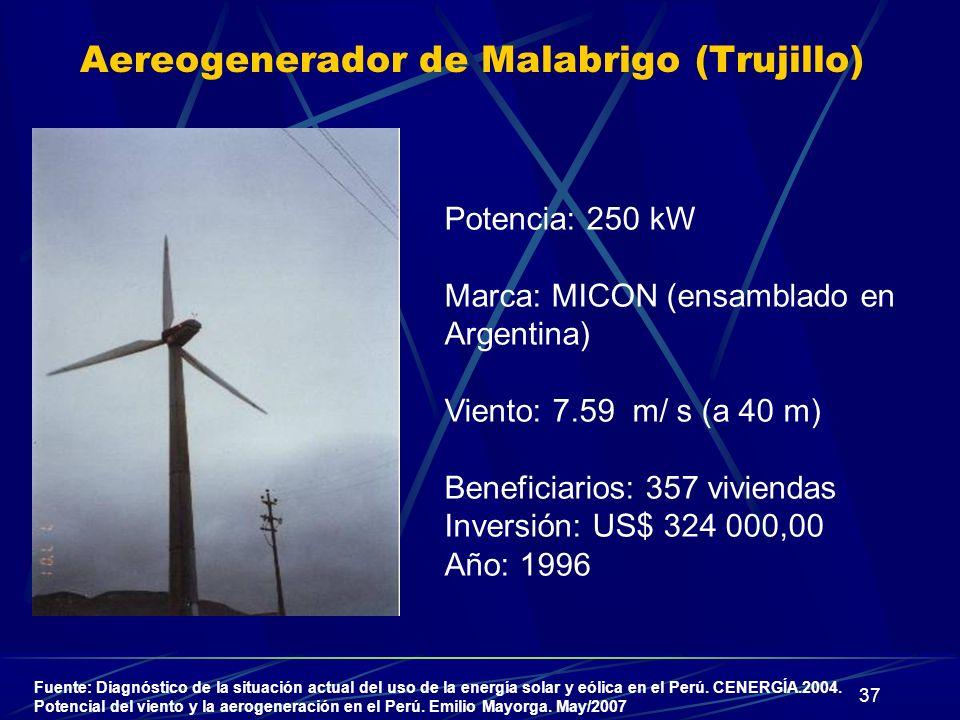 37 Aereogenerador de Malabrigo (Trujillo) Potencia: 250 kW Marca: MICON (ensamblado en Argentina) Viento: 7.59 m/ s (a 40 m) Beneficiarios: 357 vivien