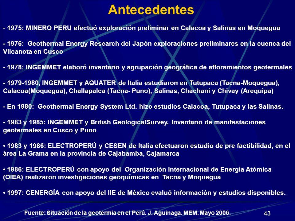 43 Antecedentes - 1975: MINERO PERU efectuó exploración preliminar en Calacoa y Salinas en Moquegua - 1976: Geothermal Energy Research del Japón explo