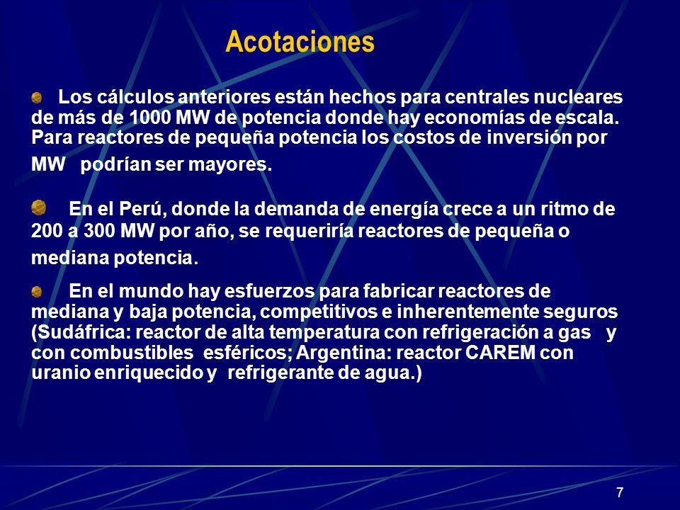 7 Acotaciones Los cálculos anteriores están hechos para centrales nucleares de más de 1000 MW de potencia donde hay economías de escala. Para reactore