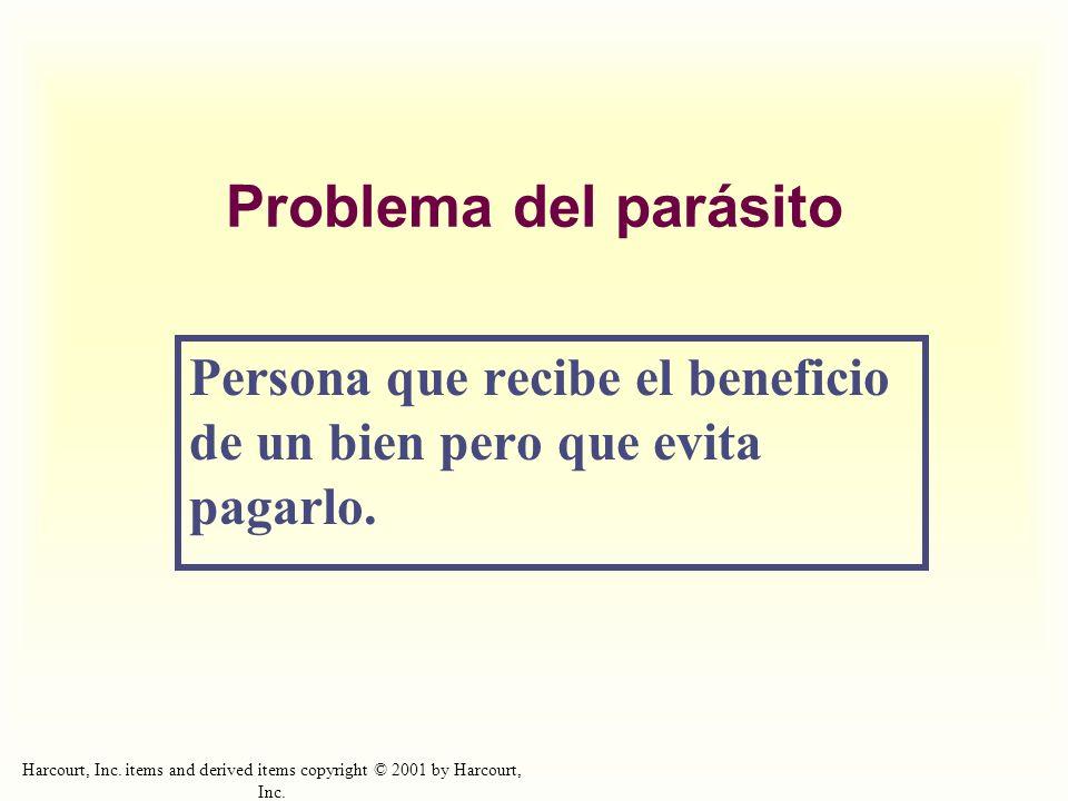 Problema del parásito Persona que recibe el beneficio de un bien pero que evita pagarlo.