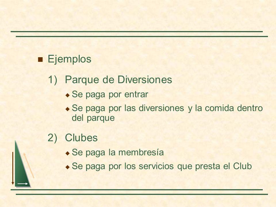Ejemplos 1)Parque de Diversiones Se paga por entrar Se paga por las diversiones y la comida dentro del parque 2)Clubes Se paga la membresía Se paga po