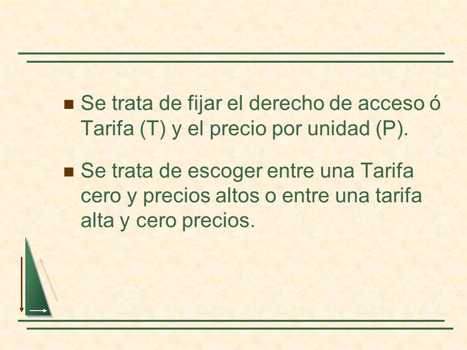 Se trata de fijar el derecho de acceso ó Tarifa (T) y el precio por unidad (P). Se trata de escoger entre una Tarifa cero y precios altos o entre una