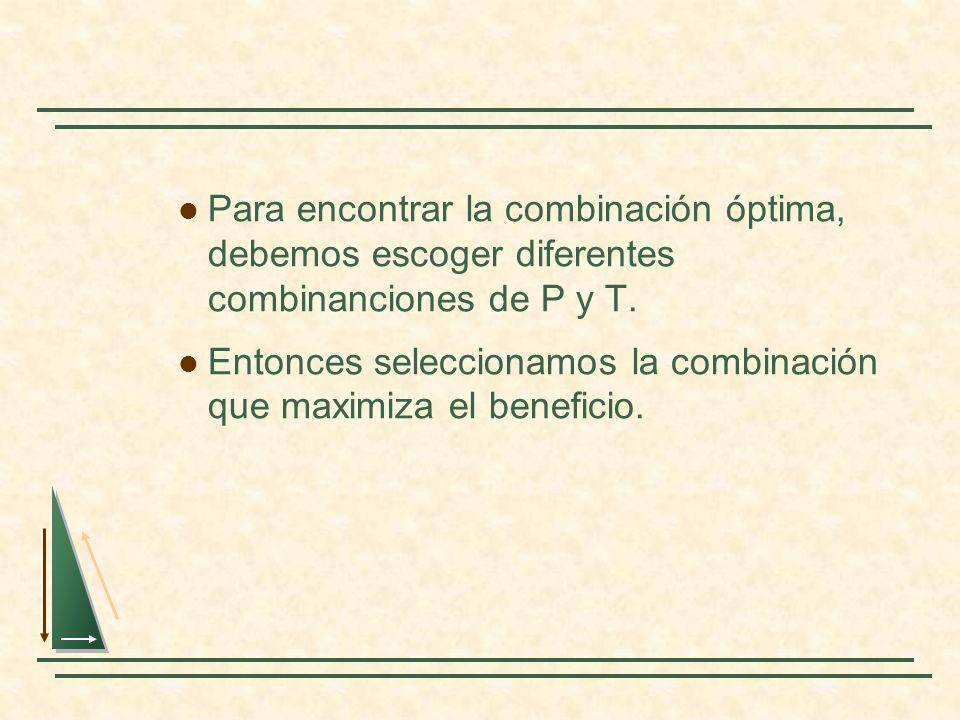 Para encontrar la combinación óptima, debemos escoger diferentes combinanciones de P y T. Entonces seleccionamos la combinación que maximiza el benefi