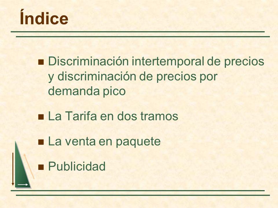 Discriminación intertemporal de precios y discriminación de precios por demanda pico La Tarifa en dos tramos La venta en paquete Publicidad Índice