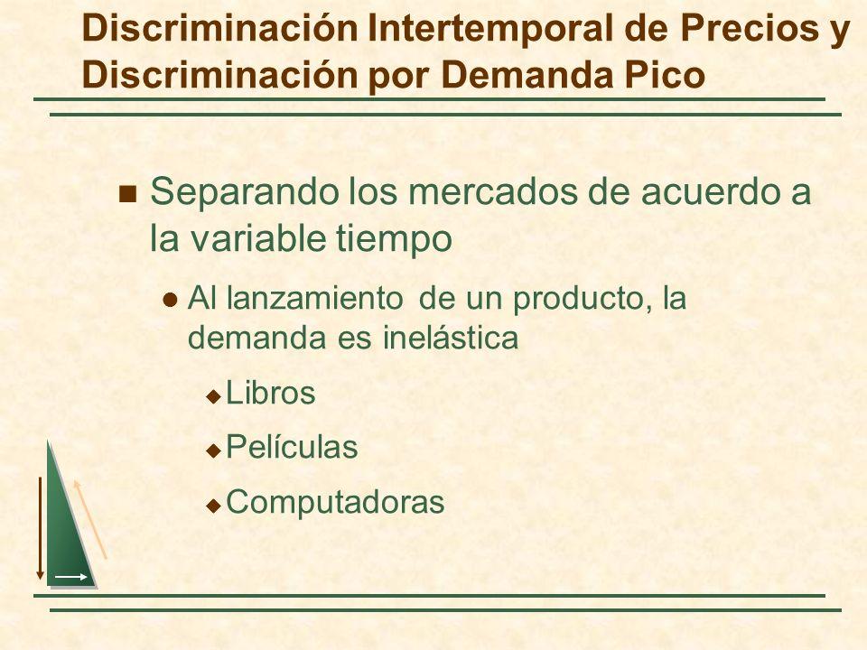 Discriminación Intertemporal de Precios y Discriminación por Demanda Pico Separando los mercados de acuerdo a la variable tiempo Al lanzamiento de un