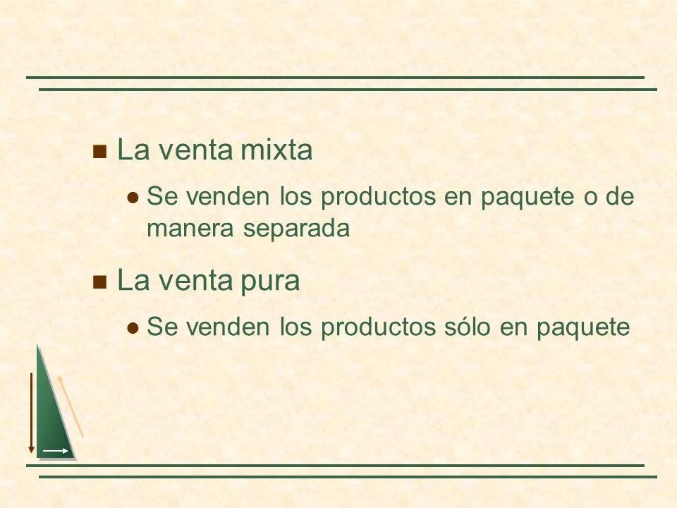 La venta mixta Se venden los productos en paquete o de manera separada La venta pura Se venden los productos sólo en paquete