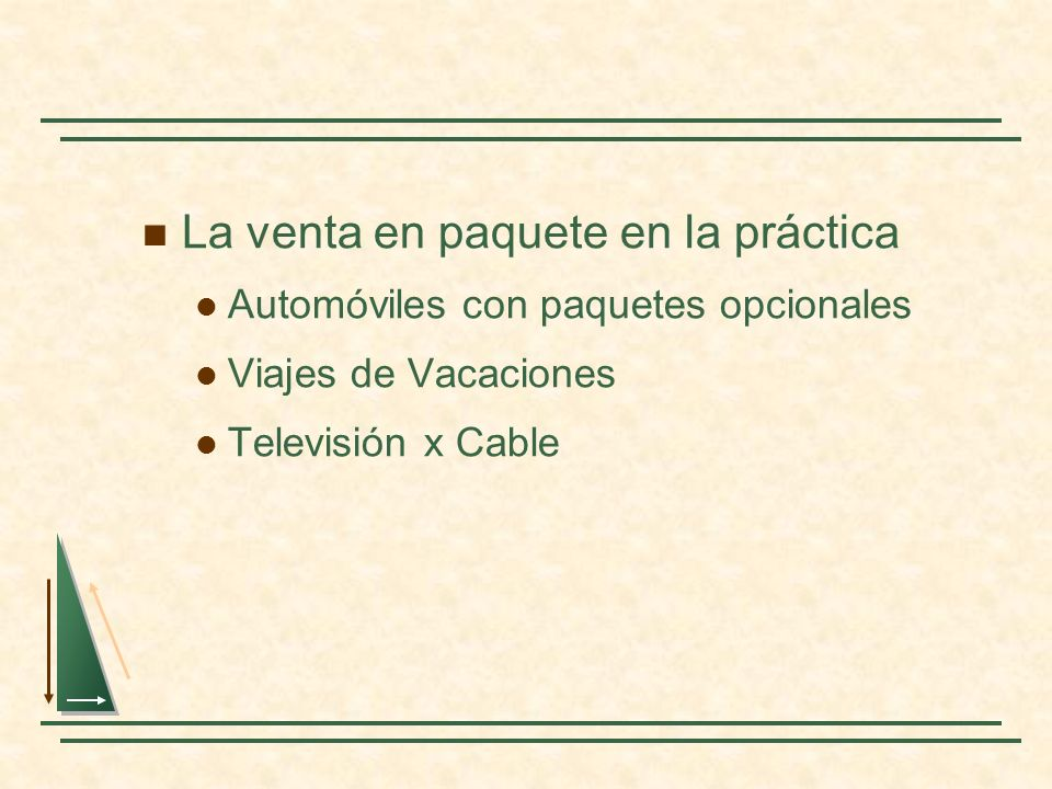 La venta en paquete en la práctica Automóviles con paquetes opcionales Viajes de Vacaciones Televisión x Cable