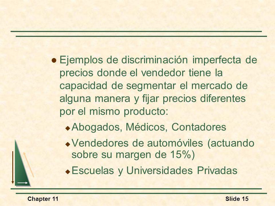 Chapter 11Slide 15 Ejemplos de discriminación imperfecta de precios donde el vendedor tiene la capacidad de segmentar el mercado de alguna manera y fi