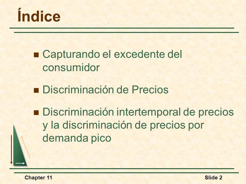 Chapter 11Slide 2 Índice Capturando el excedente del consumidor Discriminación de Precios Discriminación intertemporal de precios y la discriminación