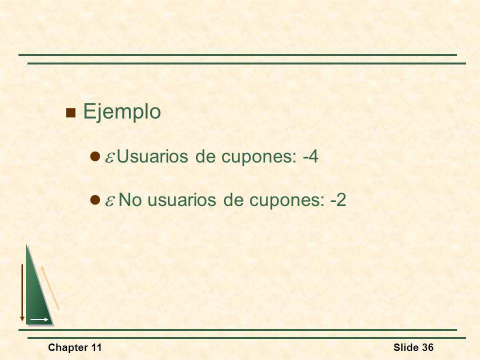 Chapter 11Slide 36 Ejemplo Usuarios de cupones: -4 No usuarios de cupones: -2
