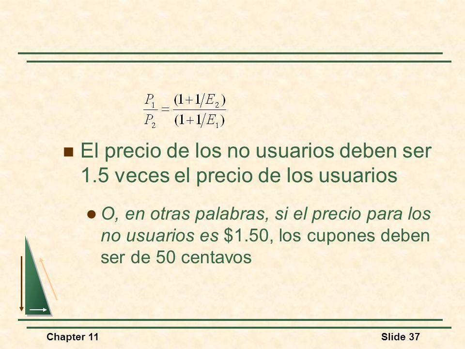 Chapter 11Slide 37 El precio de los no usuarios deben ser 1.5 veces el precio de los usuarios O, en otras palabras, si el precio para los no usuarios