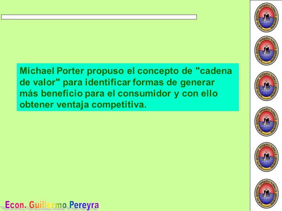 Michael Porter propuso el concepto de cadena de valor para identificar formas de generar más beneficio para el consumidor y con ello obtener ventaja competitiva.