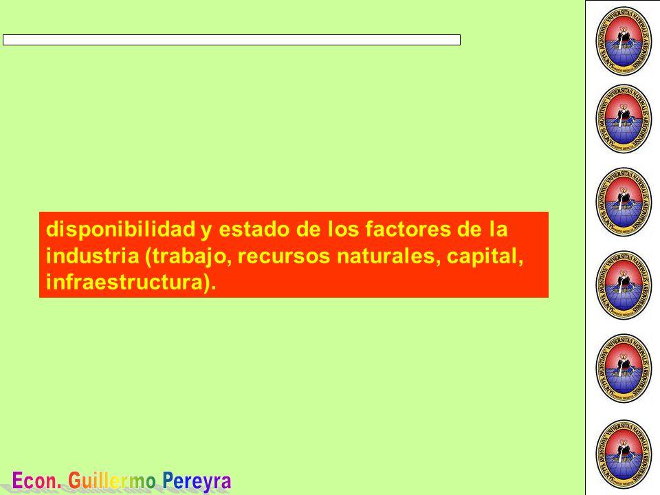 disponibilidad y estado de los factores de la industria (trabajo, recursos naturales, capital, infraestructura).