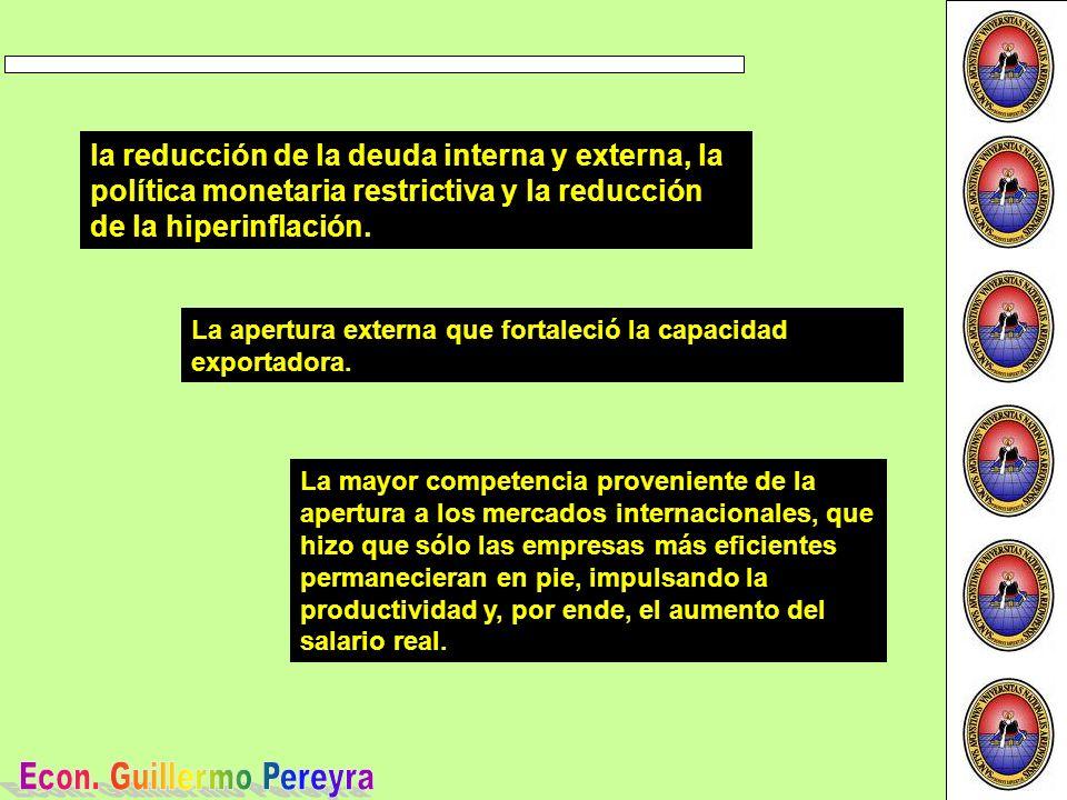 la reducción de la deuda interna y externa, la política monetaria restrictiva y la reducción de la hiperinflación.