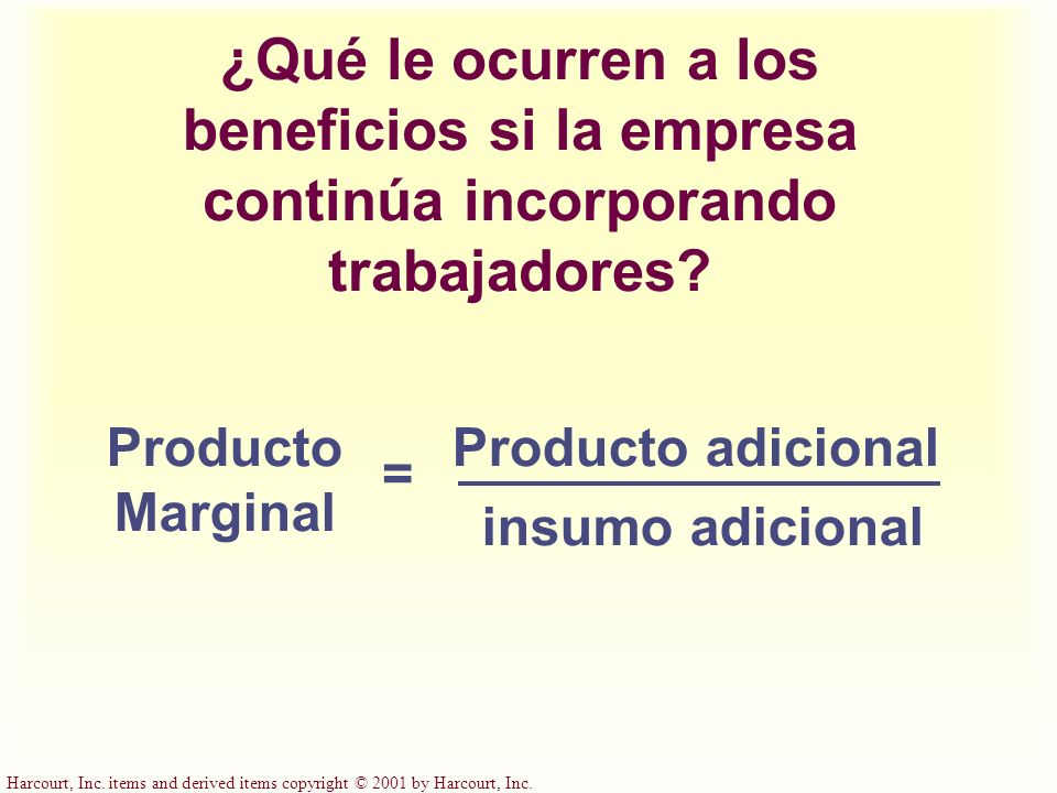 Harcourt, Inc. items and derived items copyright © 2001 by Harcourt, Inc. ¿Qué le ocurren a los beneficios si la empresa continúa incorporando trabaja