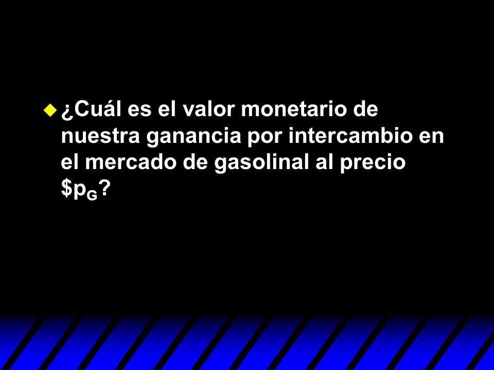 ¿Cuál es el valor monetario de nuestra ganancia por intercambio en el mercado de gasolinal al precio $p G ?