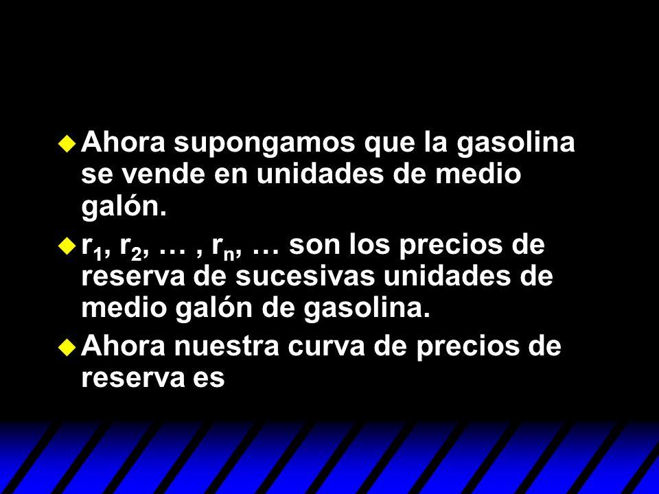 Ahora supongamos que la gasolina se vende en unidades de medio galón. r 1, r 2, …, r n, … son los precios de reserva de sucesivas unidades de medio ga