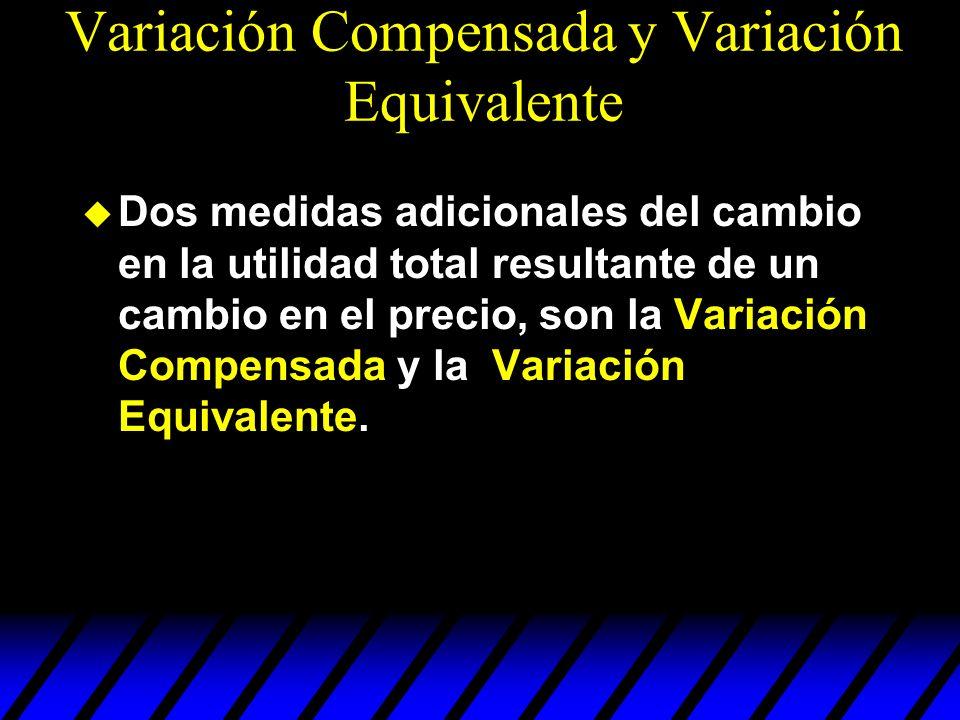 Dos medidas adicionales del cambio en la utilidad total resultante de un cambio en el precio, son la Variación Compensada y la Variación Equivalente.