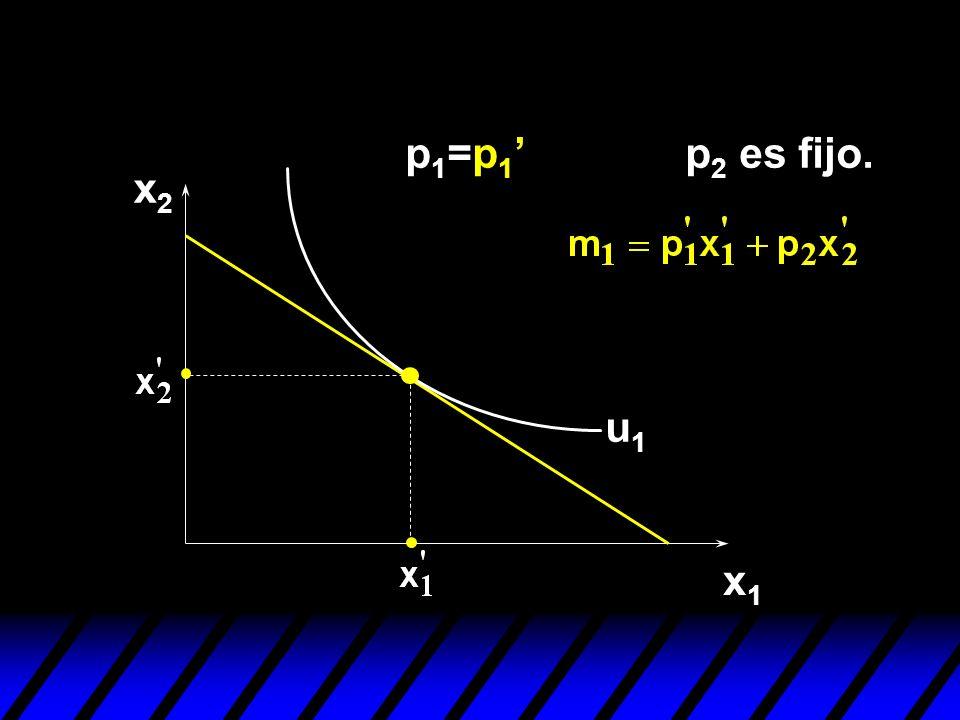x2x2 x1x1 u1u1 p 1 =p 1 p 2 es fijo.