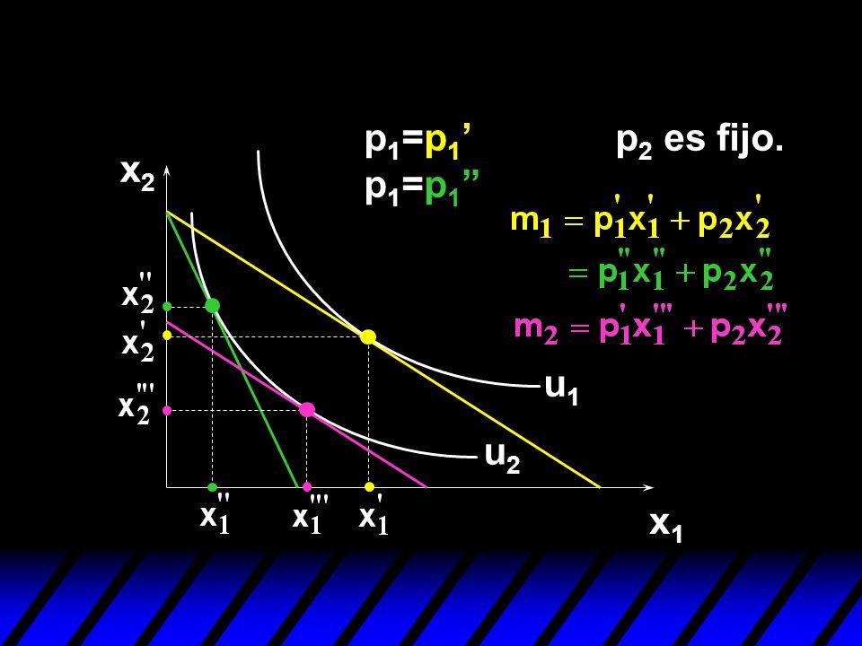 x2x2 x1x1 u1u1 u2u2 p 1 =p 1 p 1 =p 1 p 2 es fijo.