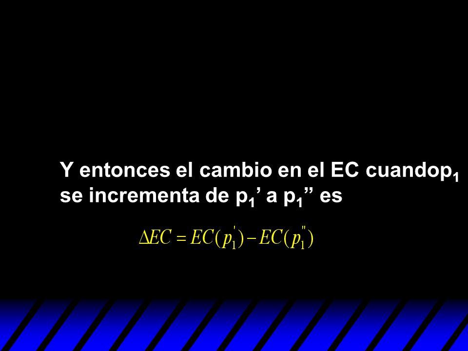 Y entonces el cambio en el EC cuandop 1 se incrementa de p 1 a p 1 es