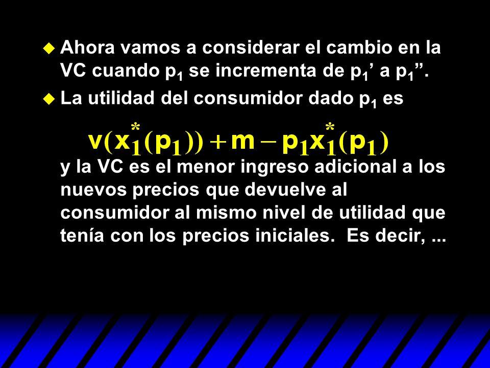 Ahora vamos a considerar el cambio en la VC cuando p 1 se incrementa de p 1 a p 1. La utilidad del consumidor dado p 1 es y la VC es el menor ingreso