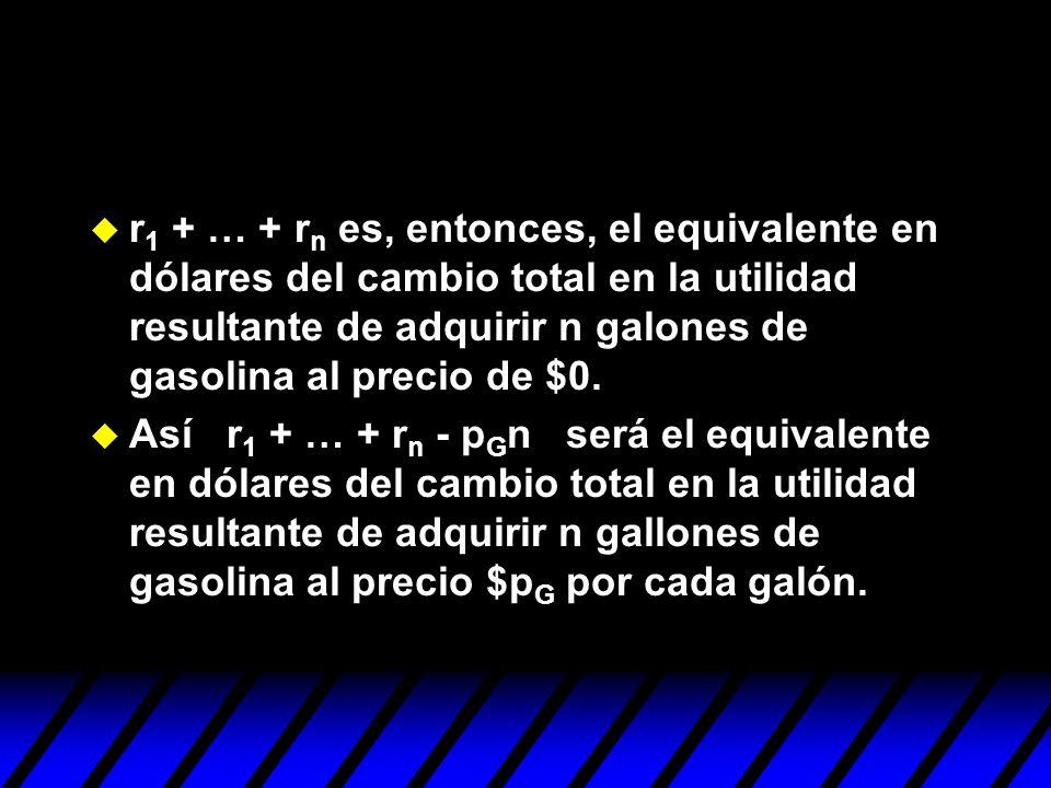 r 1 + … + r n es, entonces, el equivalente en dólares del cambio total en la utilidad resultante de adquirir n galones de gasolina al precio de $0. As