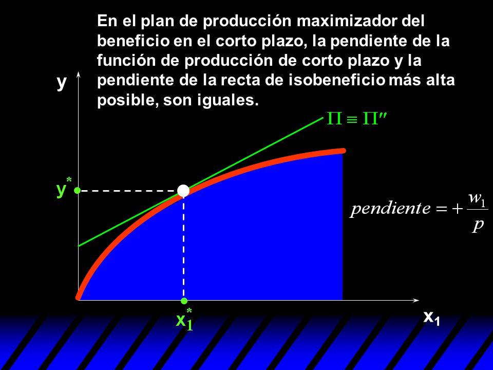 x1x1 y En el plan de producción maximizador del beneficio en el corto plazo, la pendiente de la función de producción de corto plazo y la pendiente de