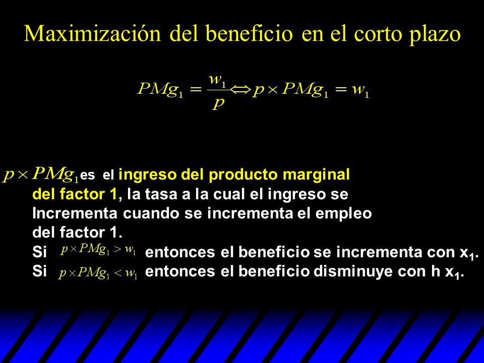 es el ingreso del producto marginal del factor 1, la tasa a la cual el ingreso se Incrementa cuando se incrementa el empleo del factor 1. Si entonces