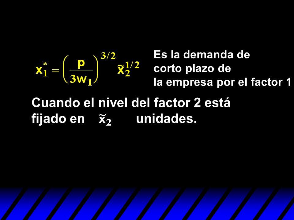 Es la demanda de corto plazo de la empresa por el factor 1 Cuando el nivel del factor 2 está fijado en unidades.