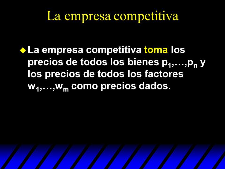 La empresa competitiva u La empresa competitiva toma los precios de todos los bienes p 1,…,p n y los precios de todos los factores w 1,…,w m como prec