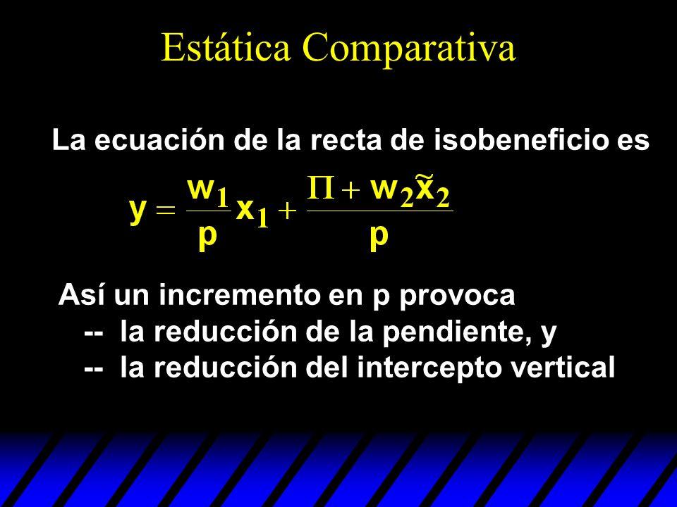 La ecuación de la recta de isobeneficio es Así un incremento en p provoca -- la reducción de la pendiente, y -- la reducción del intercepto vertical E