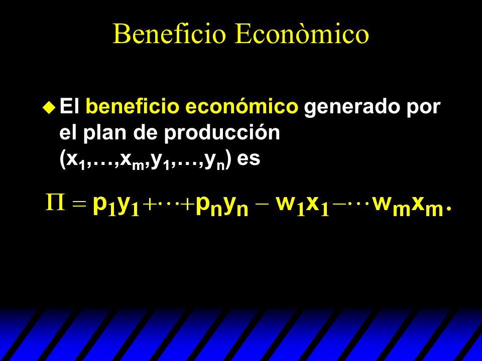 u El beneficio económico generado por el plan de producción (x 1,…,x m,y 1,…,y n ) es Beneficio Econòmico