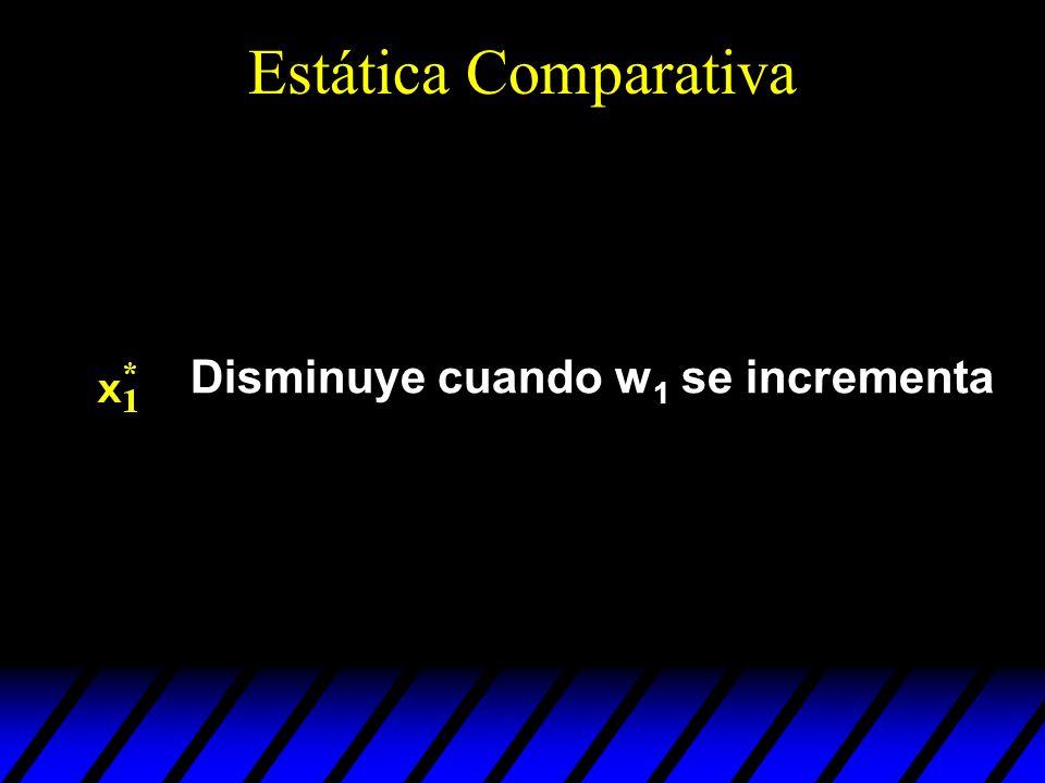 Disminuye cuando w 1 se incrementa Estática Comparativa