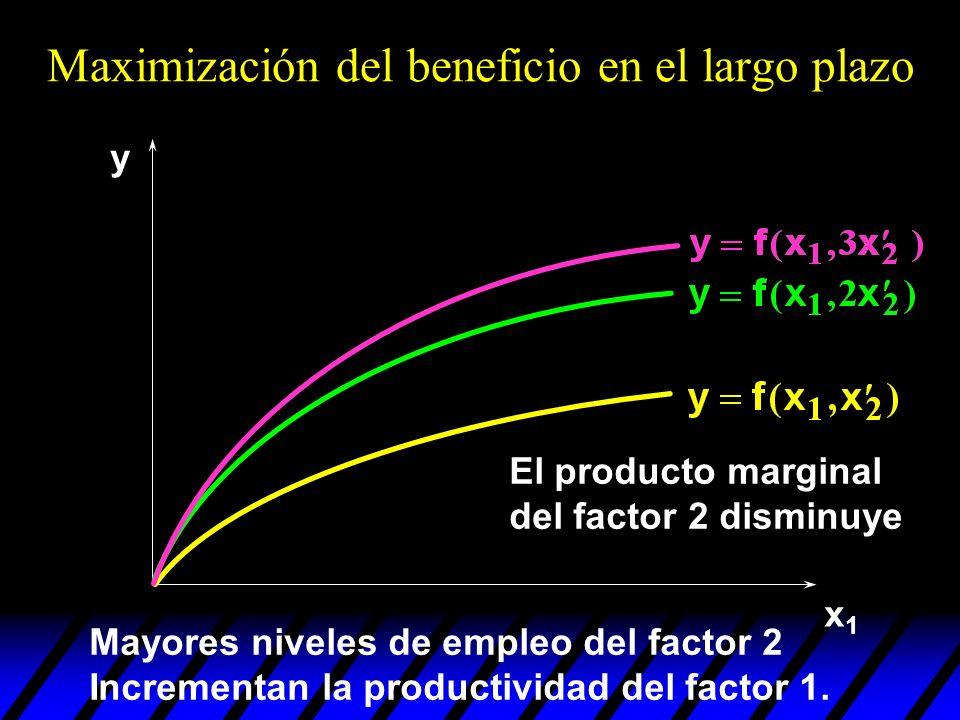 x1x1 y Maximización del beneficio en el largo plazo El producto marginal del factor 2 disminuye Mayores niveles de empleo del factor 2 Incrementan la