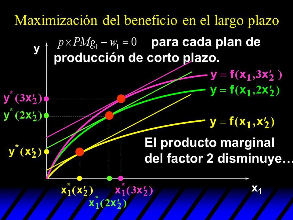 x1x1 y El producto marginal del factor 2 disminuye… Maximización del beneficio en el largo plazo para cada plan de producción de corto plazo.