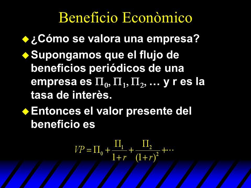 u ¿Cómo se valora una empresa? Supongamos que el flujo de beneficios periódicos de una empresa es … y r es la tasa de interès. u Entonces el valor pre