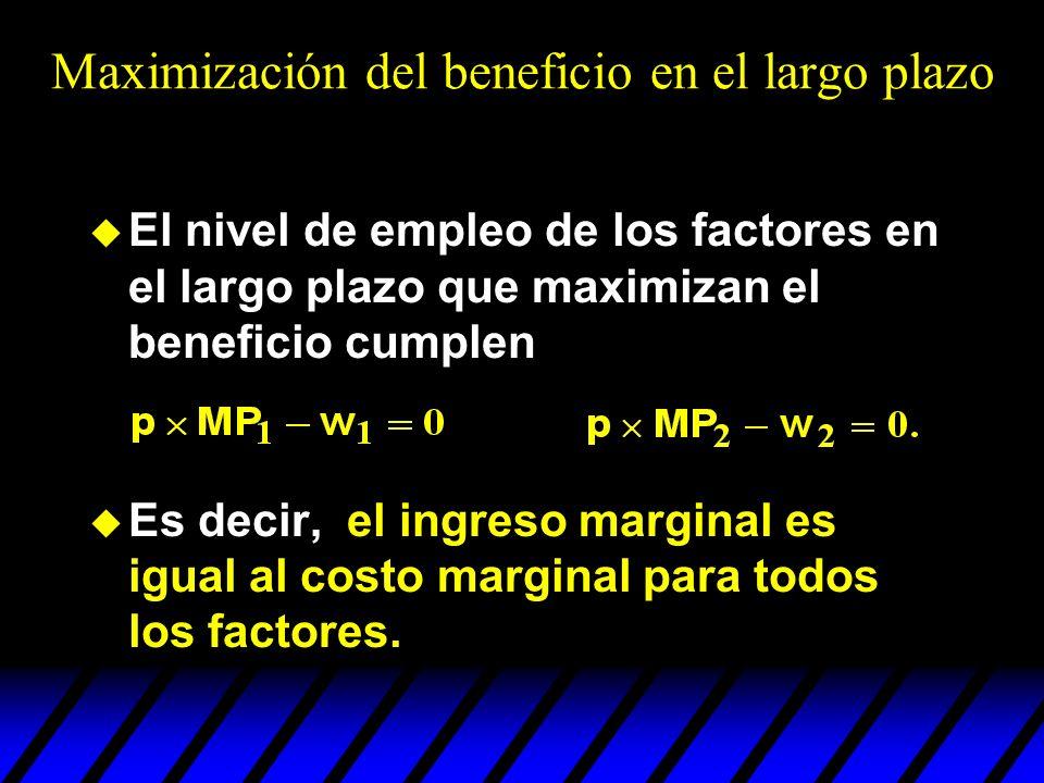 u El nivel de empleo de los factores en el largo plazo que maximizan el beneficio cumplen u Es decir, el ingreso marginal es igual al costo marginal p