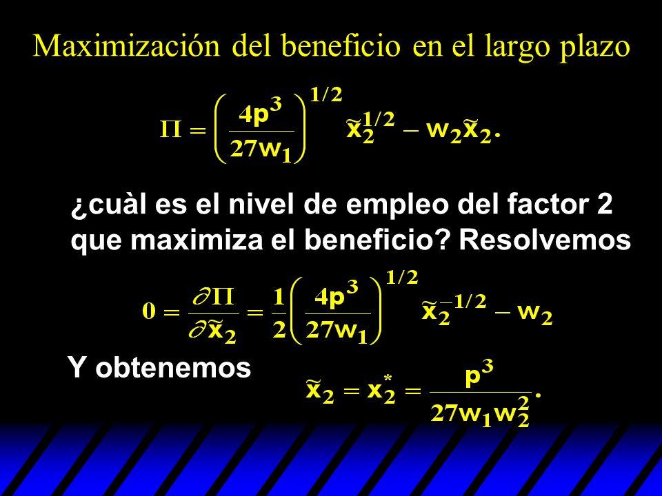 ¿cuàl es el nivel de empleo del factor 2 que maximiza el beneficio? Resolvemos Y obtenemos Maximización del beneficio en el largo plazo