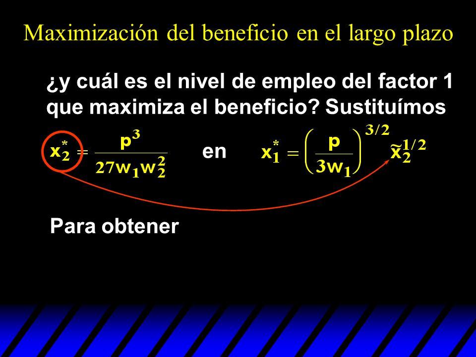 ¿y cuál es el nivel de empleo del factor 1 que maximiza el beneficio? Sustituímos en Para obtener Maximización del beneficio en el largo plazo