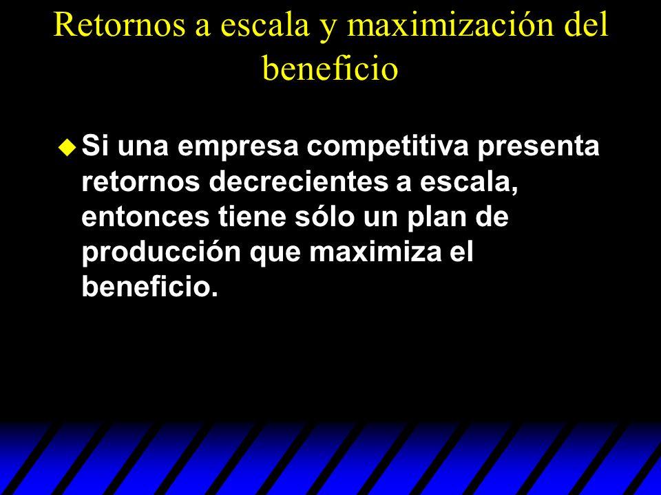 Retornos a escala y maximización del beneficio u Si una empresa competitiva presenta retornos decrecientes a escala, entonces tiene sólo un plan de pr