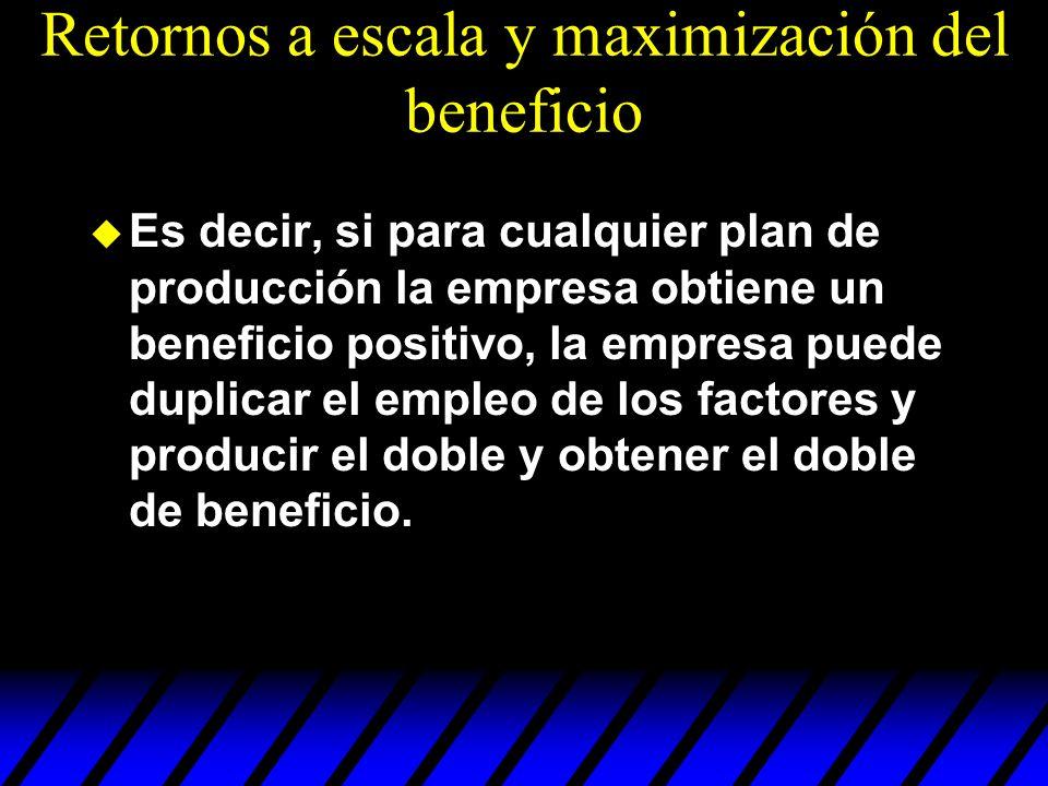 u Es decir, si para cualquier plan de producción la empresa obtiene un beneficio positivo, la empresa puede duplicar el empleo de los factores y produ