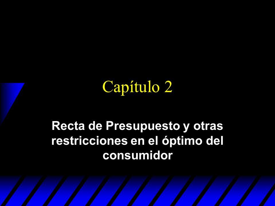 Capítulo 2 Recta de Presupuesto y otras restricciones en el óptimo del consumidor