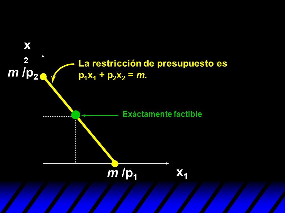 x2x2 x1x1 m /p 1 Exáctamente factible m /p 2 La restricción de presupuesto es p 1 x 1 + p 2 x 2 = m.